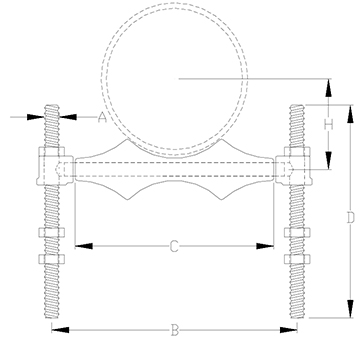 adjustable pipe roll support drawing