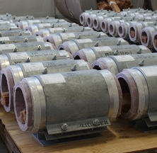 Several PyroWrap Pipe Supports in the Assembly Lay Down Area of the Shop