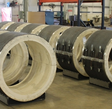 Several Calcium Silicate Pipe Supports Being Prepped for Shipping